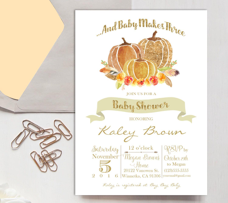 Baby Shower Invitation, Pumpkin Shower, Gender Neutral, Baby Makes ...