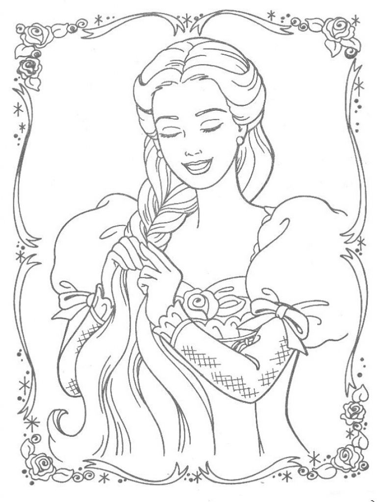 Barbie colouring in online free - Barbie Rapunzel Braiding Her Hair Coloring Page Online