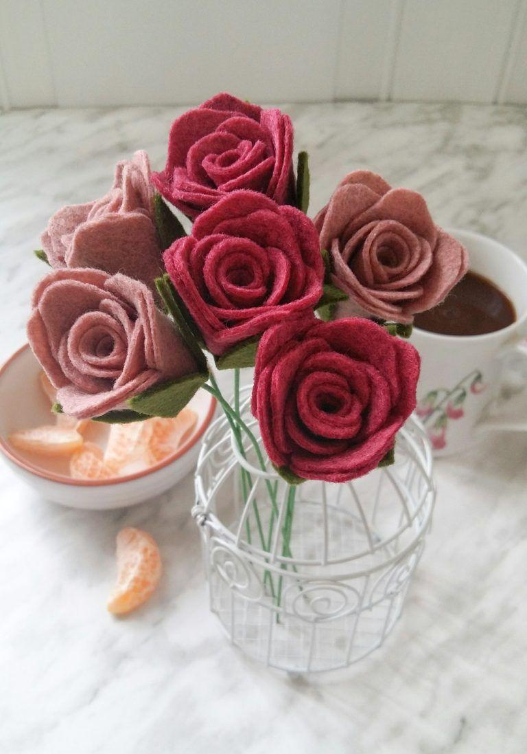 Diy felt rose stems with pattern felt roses felt