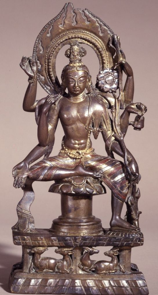 early 11th century, Kashmir, bodhisattbva Avalokiteshvara, copper alloy with silver and copper inlay, cold gold, at the British Museum (London)