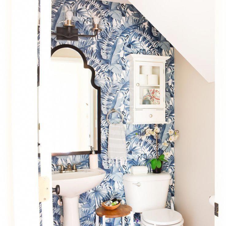 Powder Room Navy Blue Palm