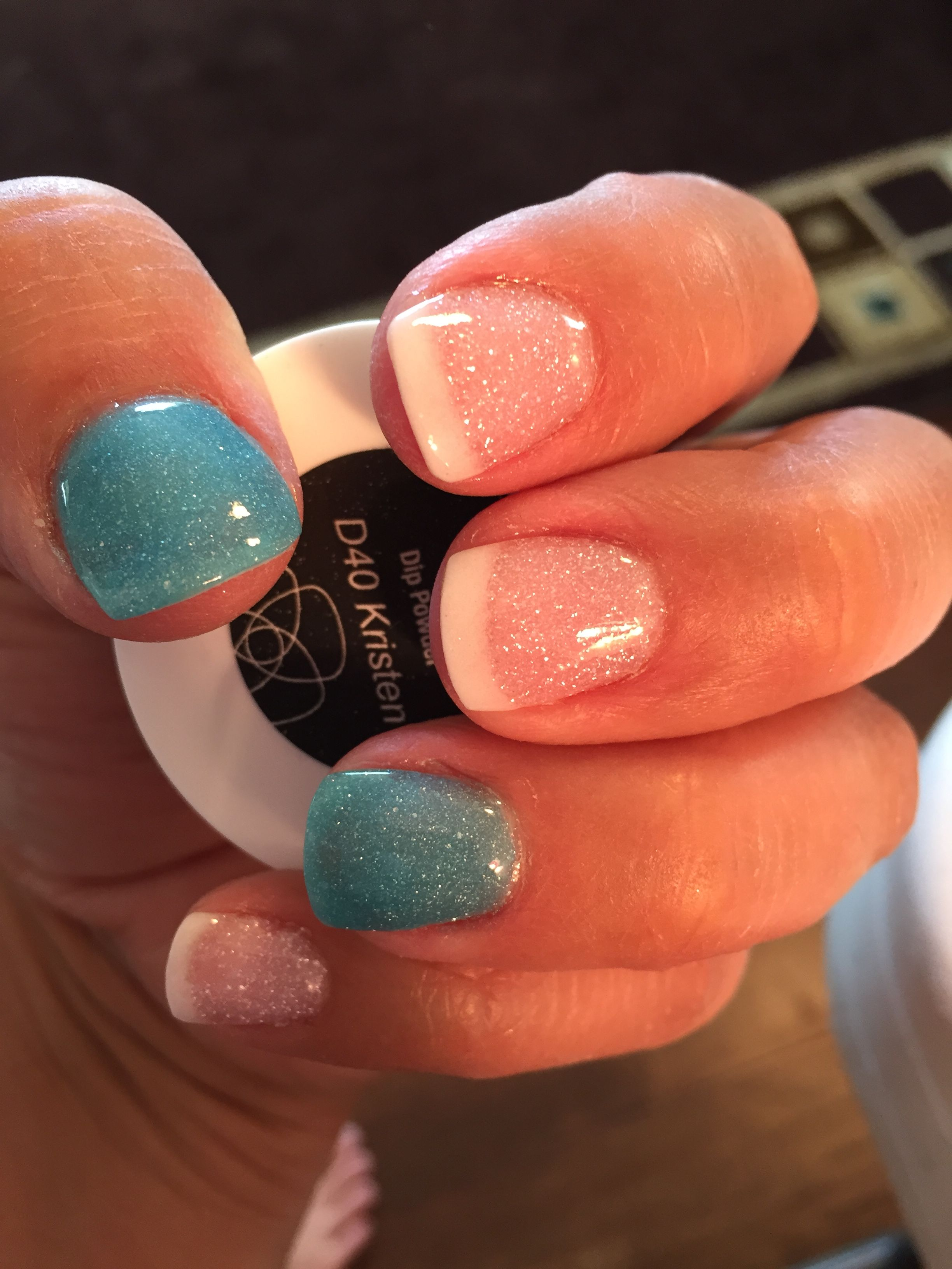 Revel nail dip powder (Kristen: Blue, Bubbly: clear ...