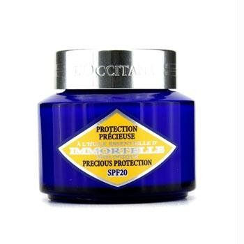 L'Occitane Immortelle Precious Protection SPF 20, 1.7 Fluid Ounce by L'Occitane. $58.00. Skin is smoother and wrinkles, even the deep ones, are diminished. Skin is firmer, better maintained. Skin is effectively protected from free radicals and UV, that cause accelerated cutaneous aging. The precious protection is a SPF daytime moisturizer offering triple action benefits for firmer skin and reduced appearance of wrinkles.