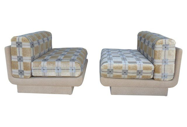 1970s Upholstered Chairs, pair