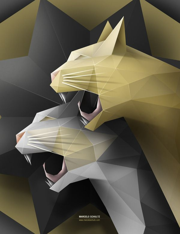 """Marcelo Schultz's """"Geometric Cats""""—""""Poster of my two cats, based only on triangles."""""""