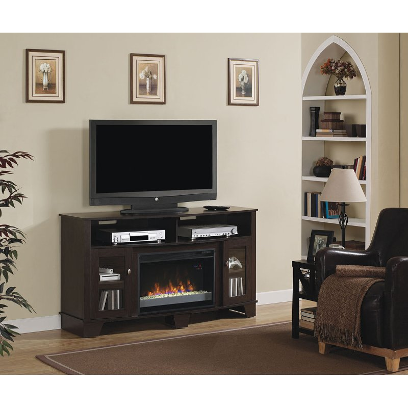 Espresso Brown 59 Inch Tv Stand With Fireplace La Salle