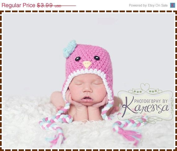 Crochet Baby Bird Hat Pattern, 8 Sizes from Newborn to Adult, SWEET ...