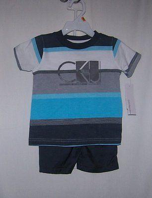 NWTS CALVIN KLEIN JEANS BABY BOYS BLUE & GREY STRIPE TEE & SHORTS  SET SIZE 12MO