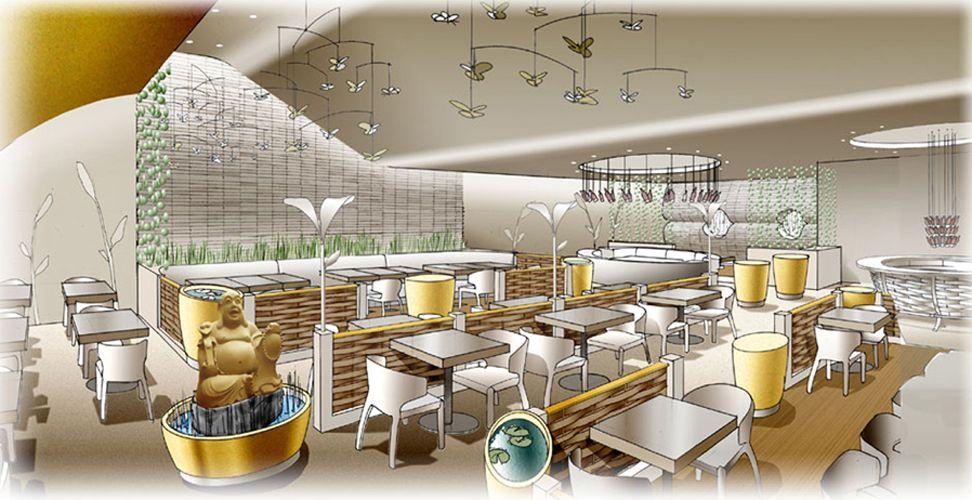 Boudha restaurant moodesign design d 39 int rieur drawing for Design d interieur dessin
