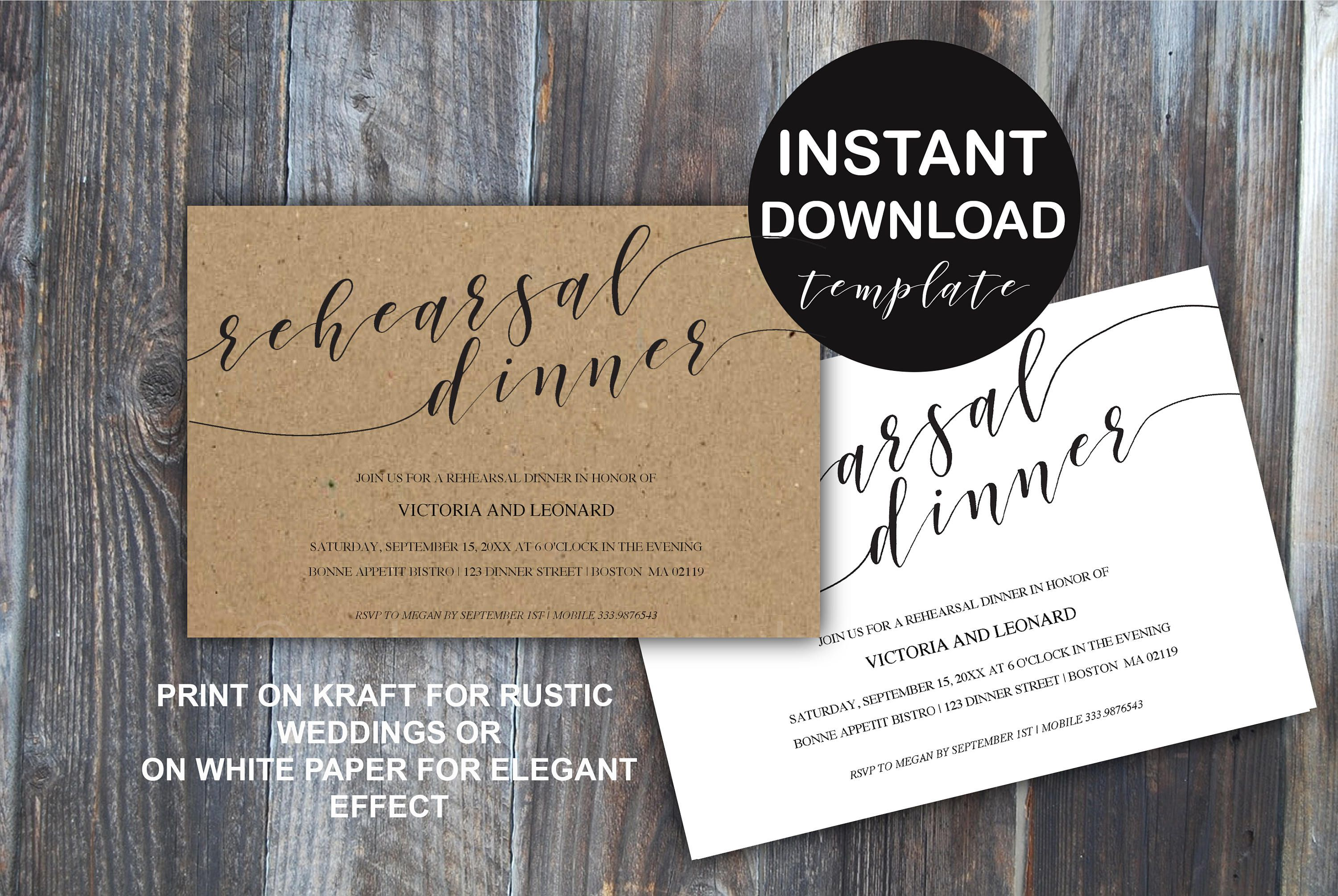 Rehearsal Dinner modern calligraphy invitation card
