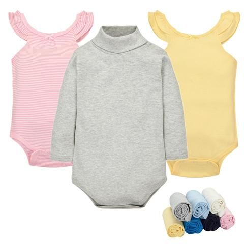 a361875b056 Cotton Baby Clothes 0-24M Newborn baby boy girl clothes Jumpsuit Long Sleeve  Infant Product solid turtleneck Baby Romper B160