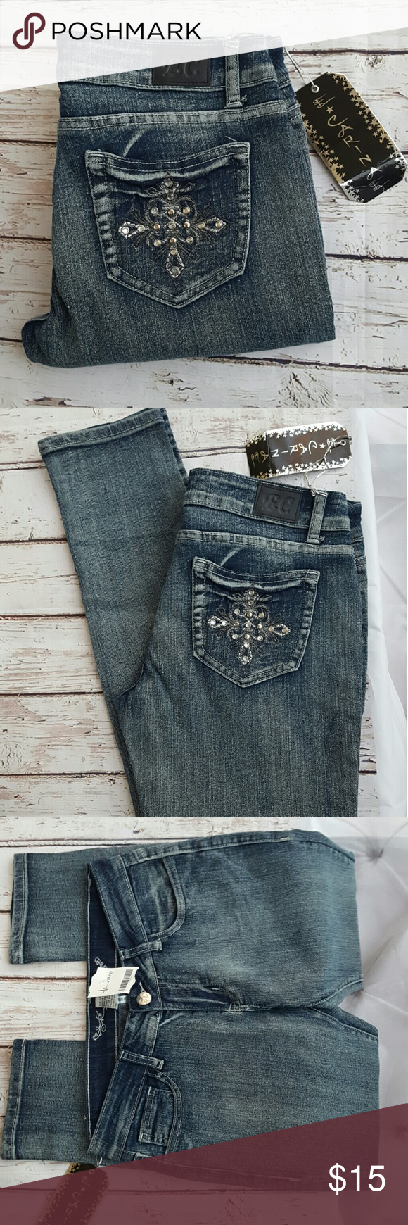 Ecarinae Nwt Bling Pocket Skinny Stretch Jeans 11 My Posh Rodeo Pants Ellie In Black E Carinae Boutique Brand New With Tags