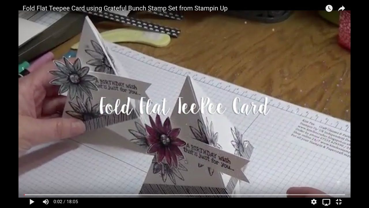 Fold Flat Teepee Card Using Grateful Bunch Stamp Set From Stampin Up Homemade Holiday Cards Fun Fold Cards Fancy Fold Cards