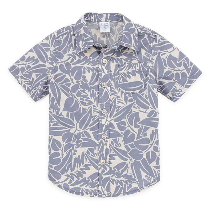Young Adult Boy Hawaiian Aloha Luau Shirt in Gray Map and Surfer