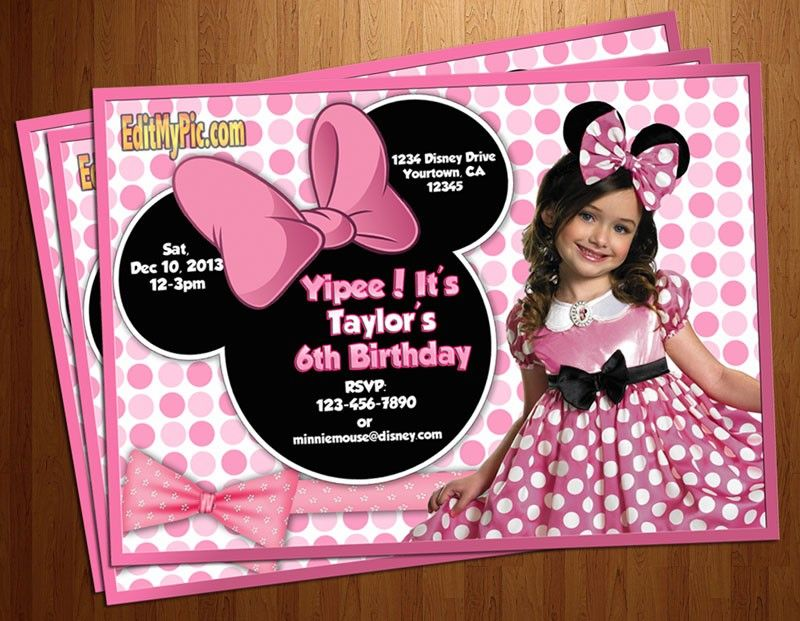 Minnie Mouse Pink Polka Dot Birthday Party Invitation Custom
