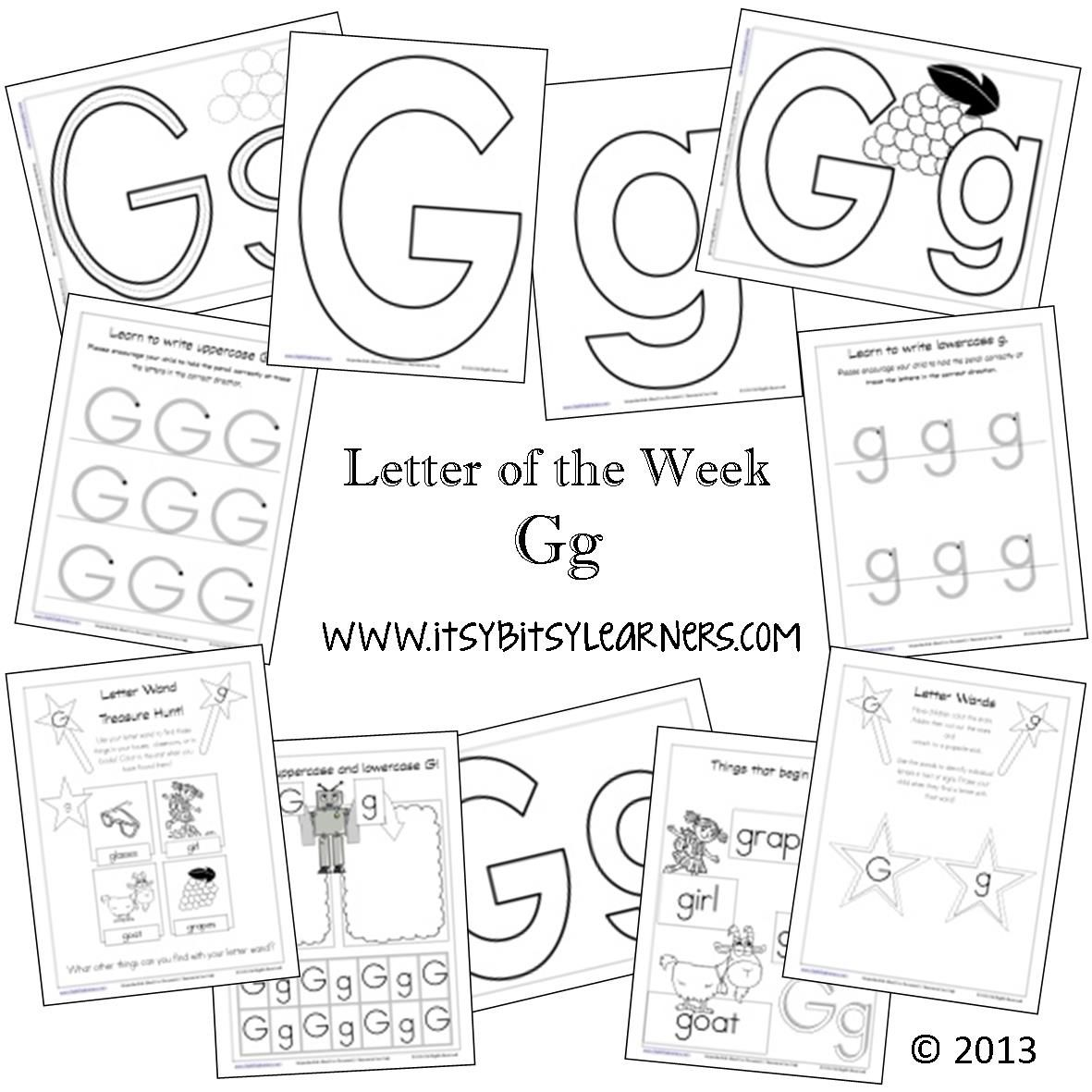 Letter G Preschool Printables (from Itsy Bitsy Learners) | Pre-K ...