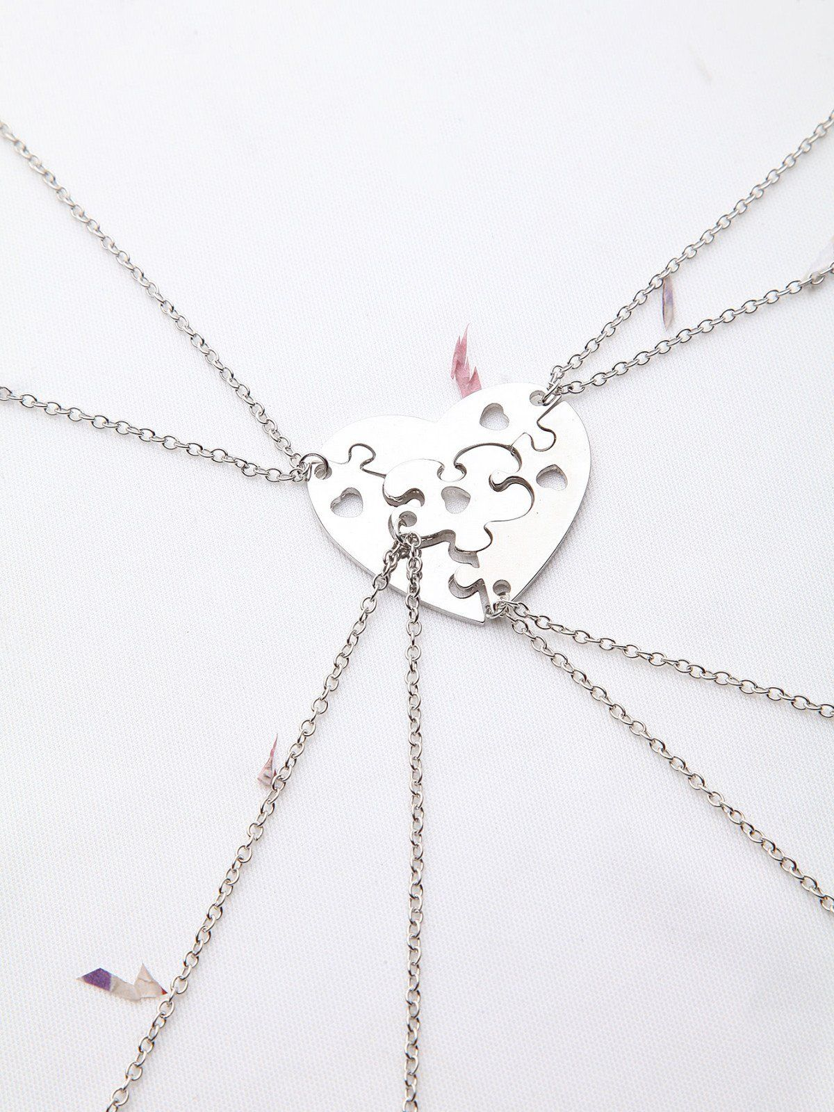 Silver heart hollow out necklace set silver color stone and metals