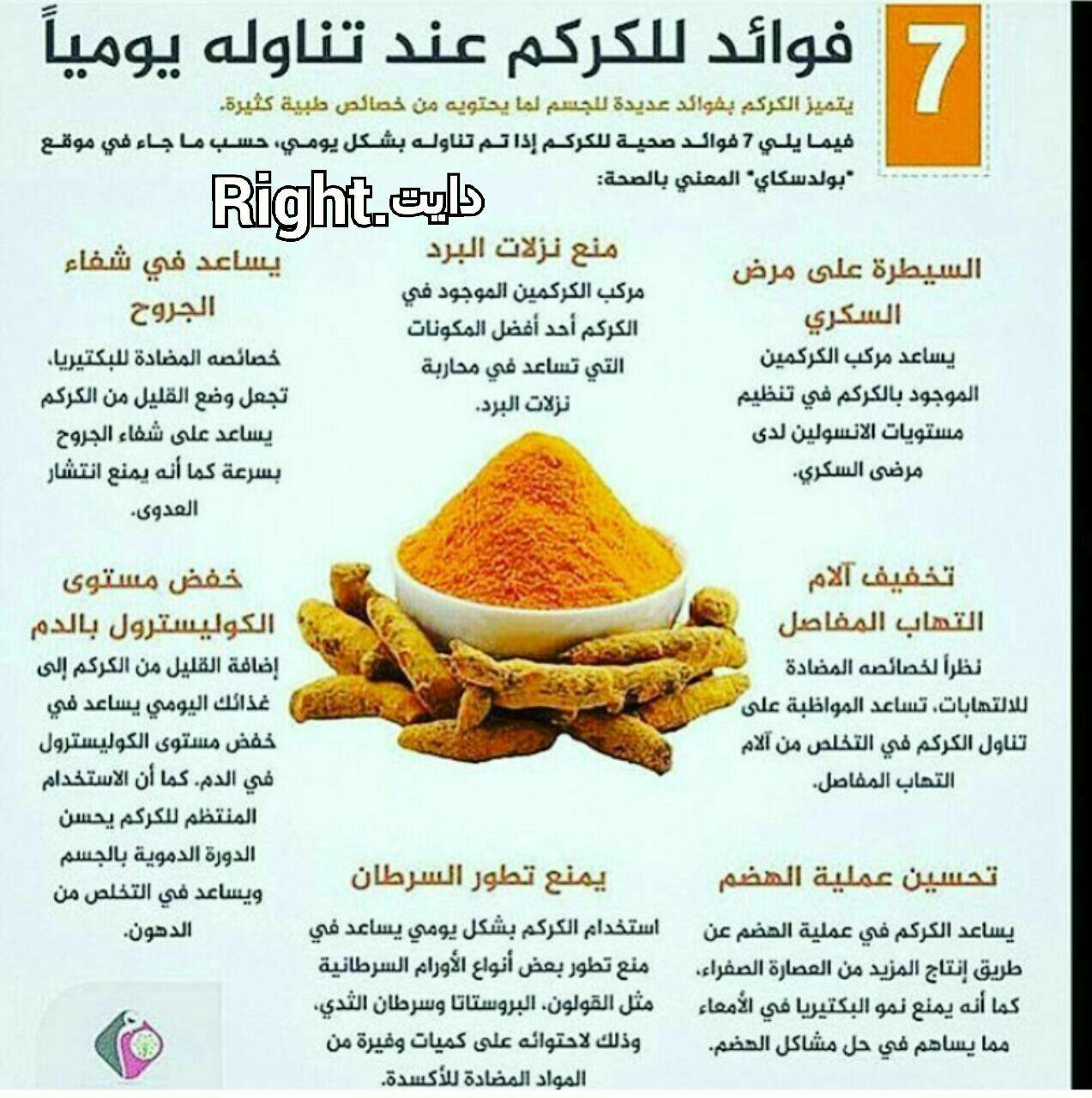 فوائد الكركم Health Fitness Nutrition Body Health Food Facts