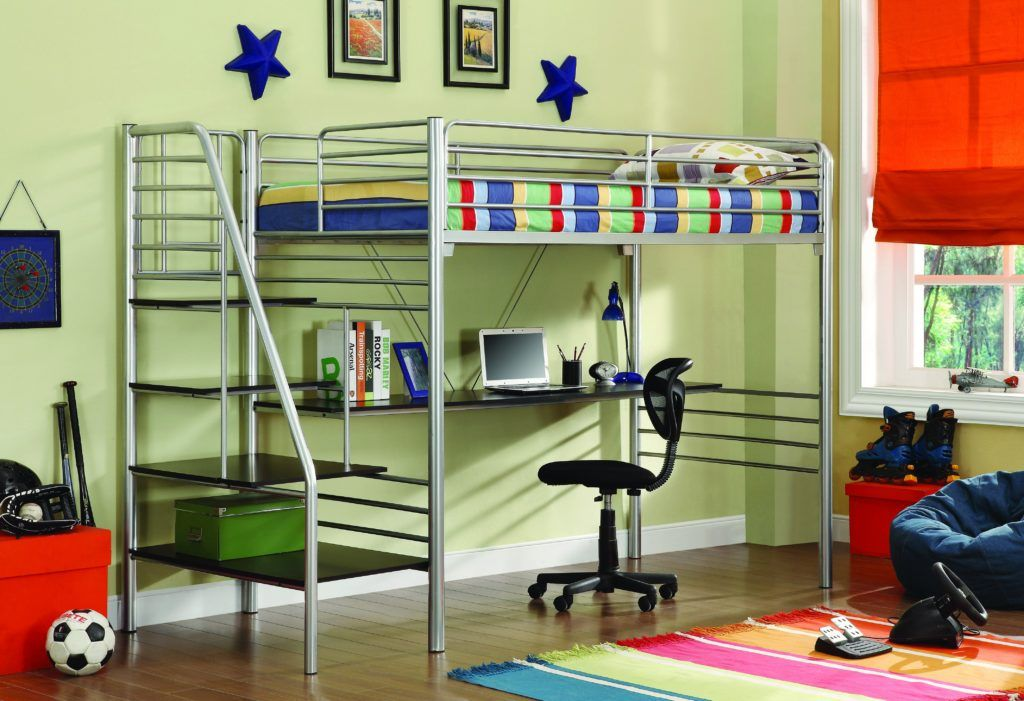 bed twin desk underneath with bunk