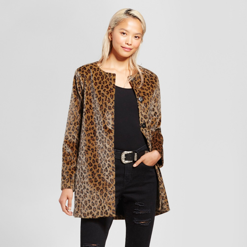 Women's Cardigan Coat - K by Kersh Animal Print XS, Brown | Products