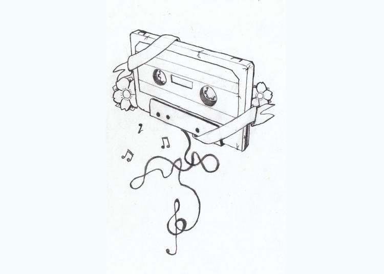 musik tattoo vorlage mit retro tonband und blumen tattoo. Black Bedroom Furniture Sets. Home Design Ideas