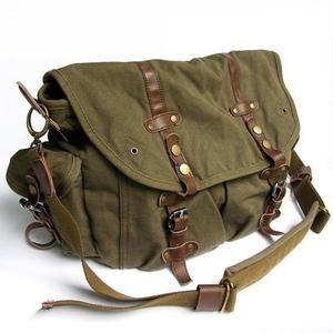 476e13ac52 Vintage Men s Khaki Army Green Canvas Briefcase Tote Satchel Shoulder Bags