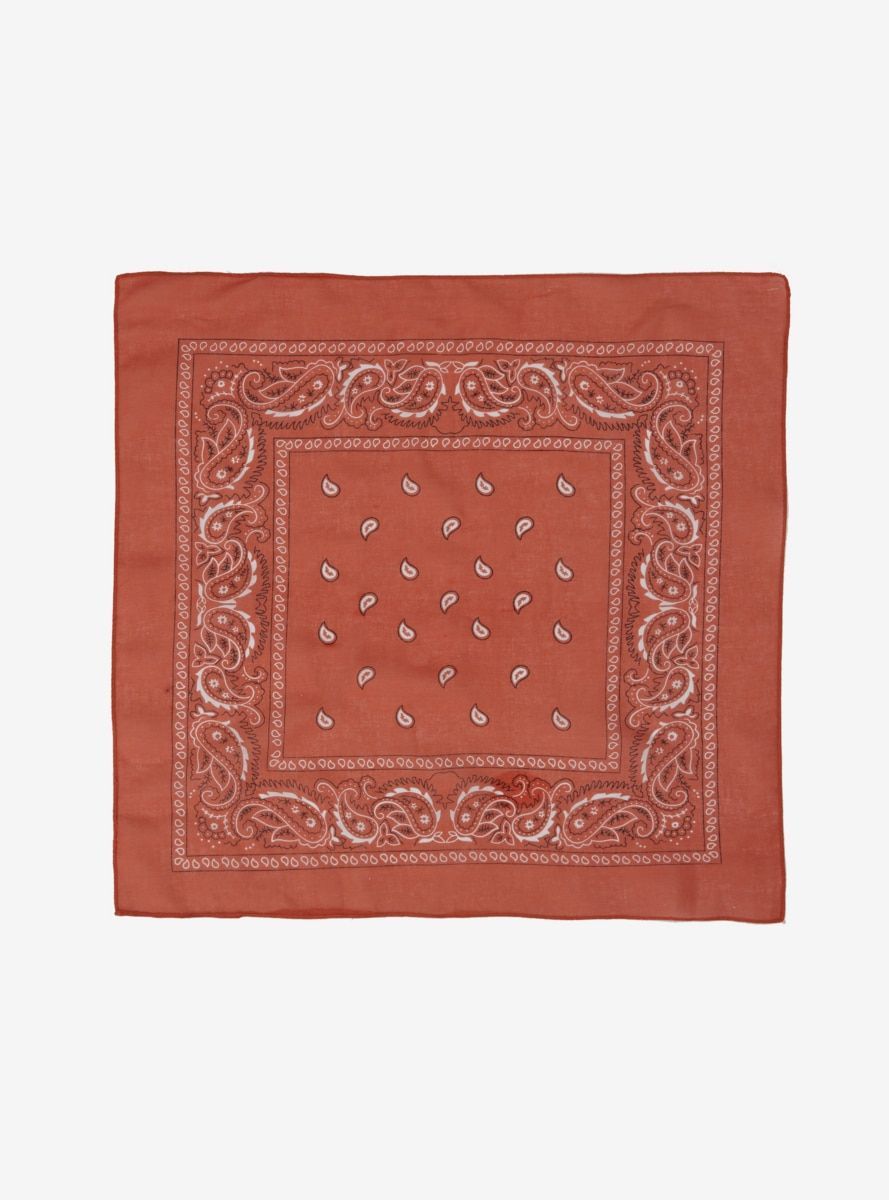Bandanas are the perfect versatile item. Use this lightweight rust paisley one as a face covering head scarf neck scarf bag strap accessory or cloth for wiping up spills!