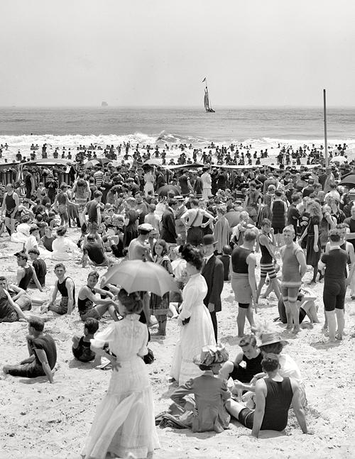 Circa 1910. Atlantic City, N.J. - the bathing hour.