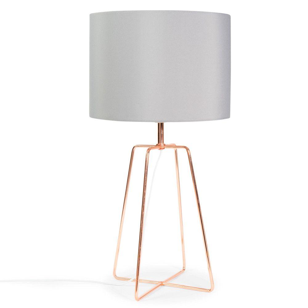 Lampe CROSSY COPPER Aus Metall Mit Lampenschirm Grau Stoff H 49 Cm Kupferfarben