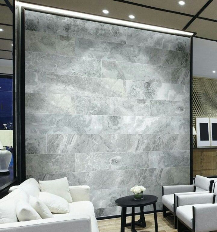 Minimalist stone feature wall
