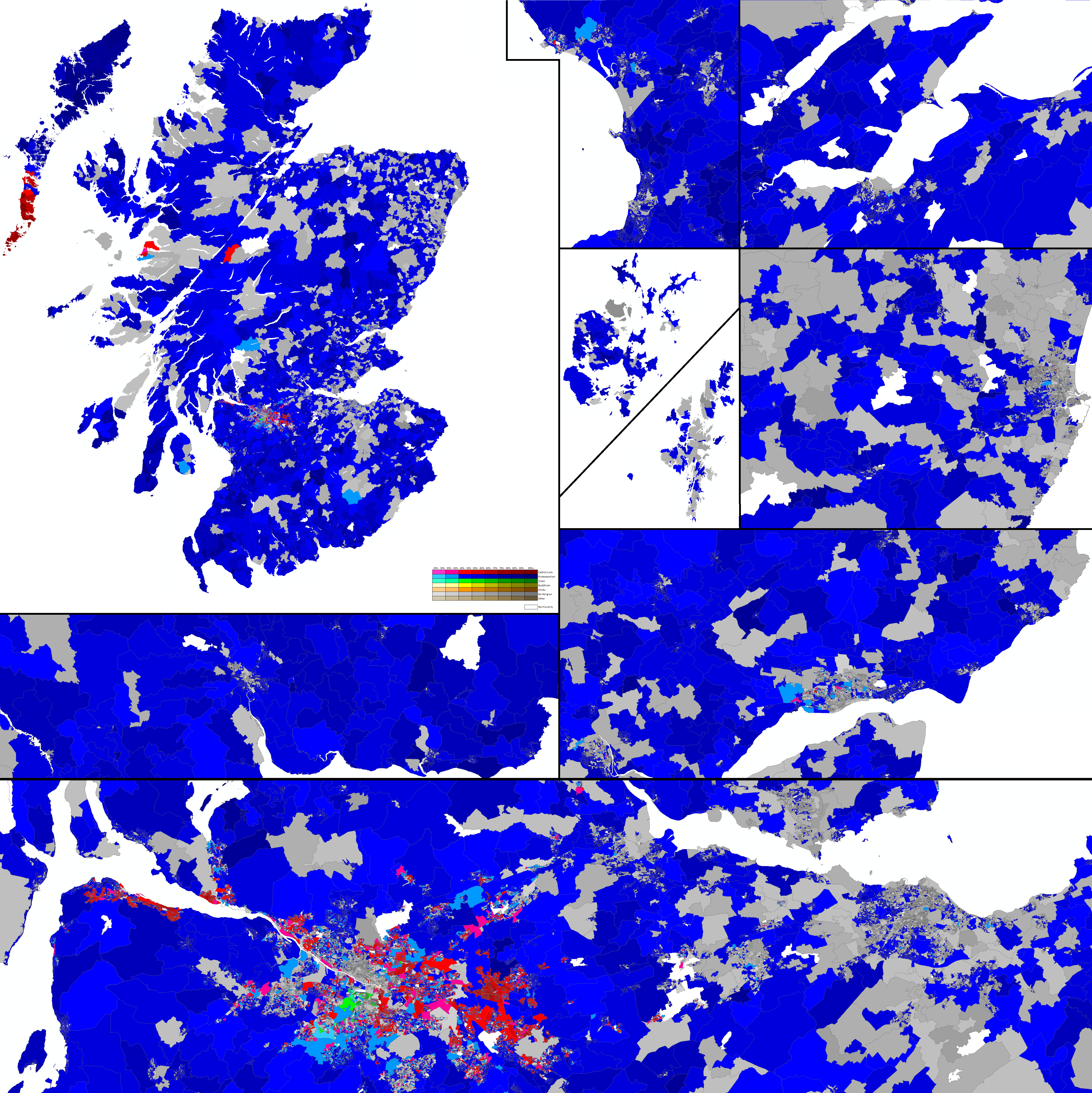 Religion in Scotland by Output Area, 2011 Census by