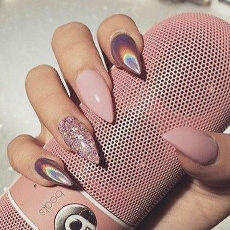 Almond Nails. Holographic Nails. Pink Glitter Nails. Nude Pink Nails. Acrylic Nails. Gel Nails.