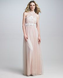 Naeem Khan Illusion-Top Embroidered Gown