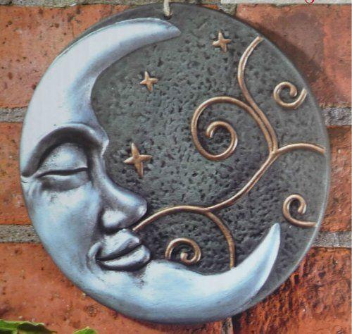 Beautiful Silver Moon Terracotta Wall Plaque Garden Art O... Https://