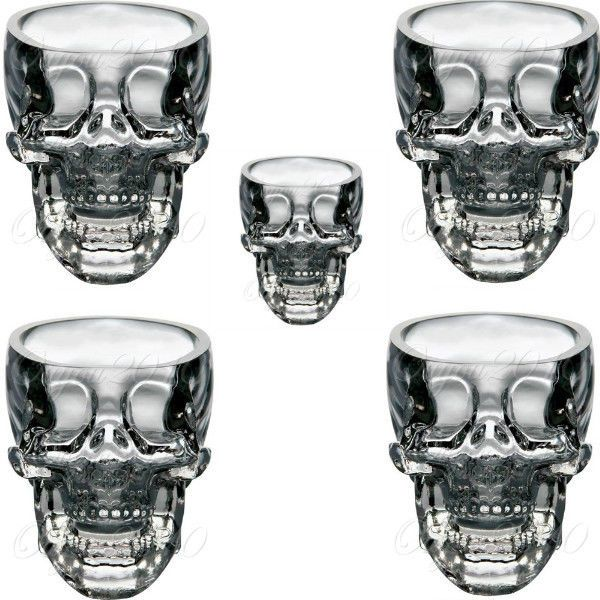 5x Crystal Skull Head Glass Vodka Whiskey Shot Cup Drinking Ware Home Bar 2.3 oz