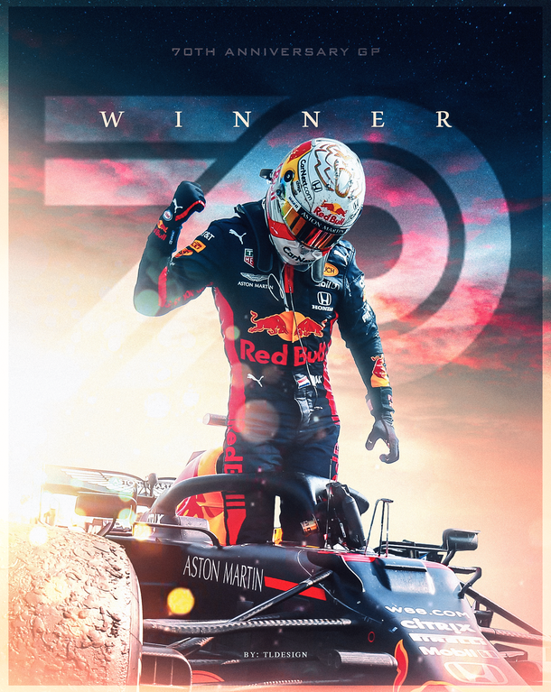 Max Verstappen 70TH Anniversary GP winner poster