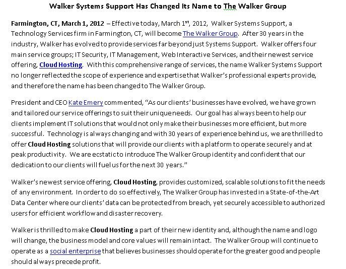 Excerpt from Press release announcing company name change - social security name change form