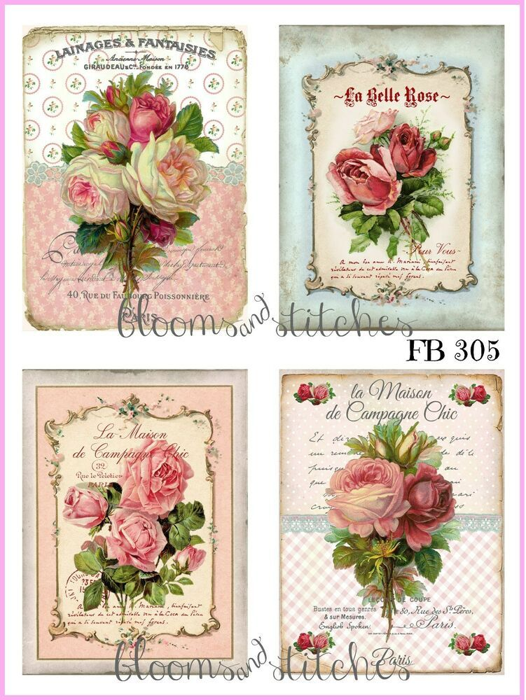 Photo of ~ Shabby Chic Vintage French Pink Roses 4 Prints on Fabric Quilting FB 305 ~ #Ha…