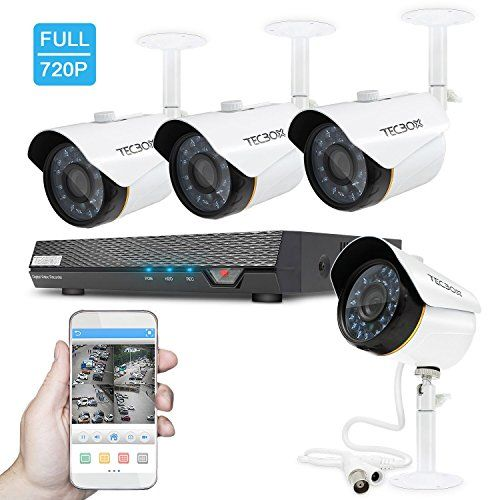 TECBOX Security Camera System Home Video Camera 4 Channel ...