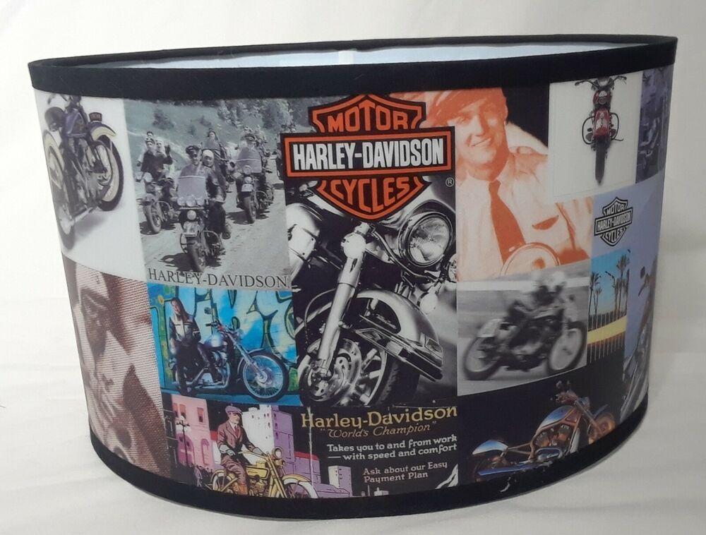 Harley Davidson Lamp Shade Oval Shape Vintage Motorcycle Biker Man