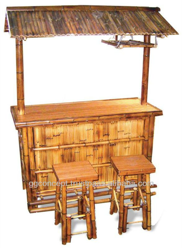 Bfs 13017 Bamboo Outdoor Furniture Tiki Bar Set With Stools
