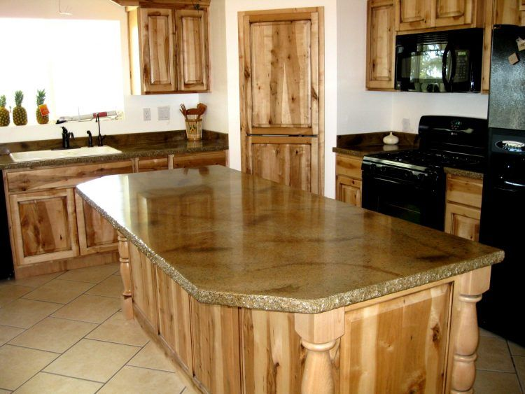Simple Traditional Kitchen Design Idea With Unfinished Wooden Cabinet And Island And River Outdoor Kitchen Countertops Rustic Kitchen Kitchen Island Countertop