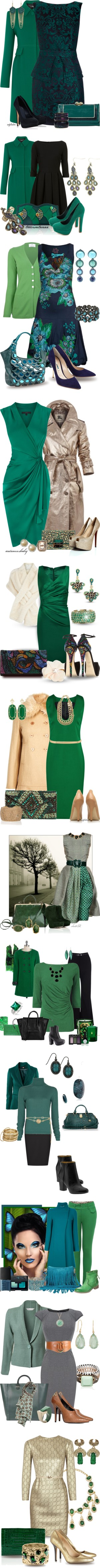 """""""Season of Green"""" by glinwen ❤ liked on Polyvore"""