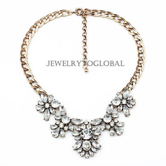 Vintage Crystal Flower Anhänger Halskette Anweisung, Blase Bib Collier, klobige Kette, elegante Hochzeit Modeschmuck auf Etsy, 13,52€