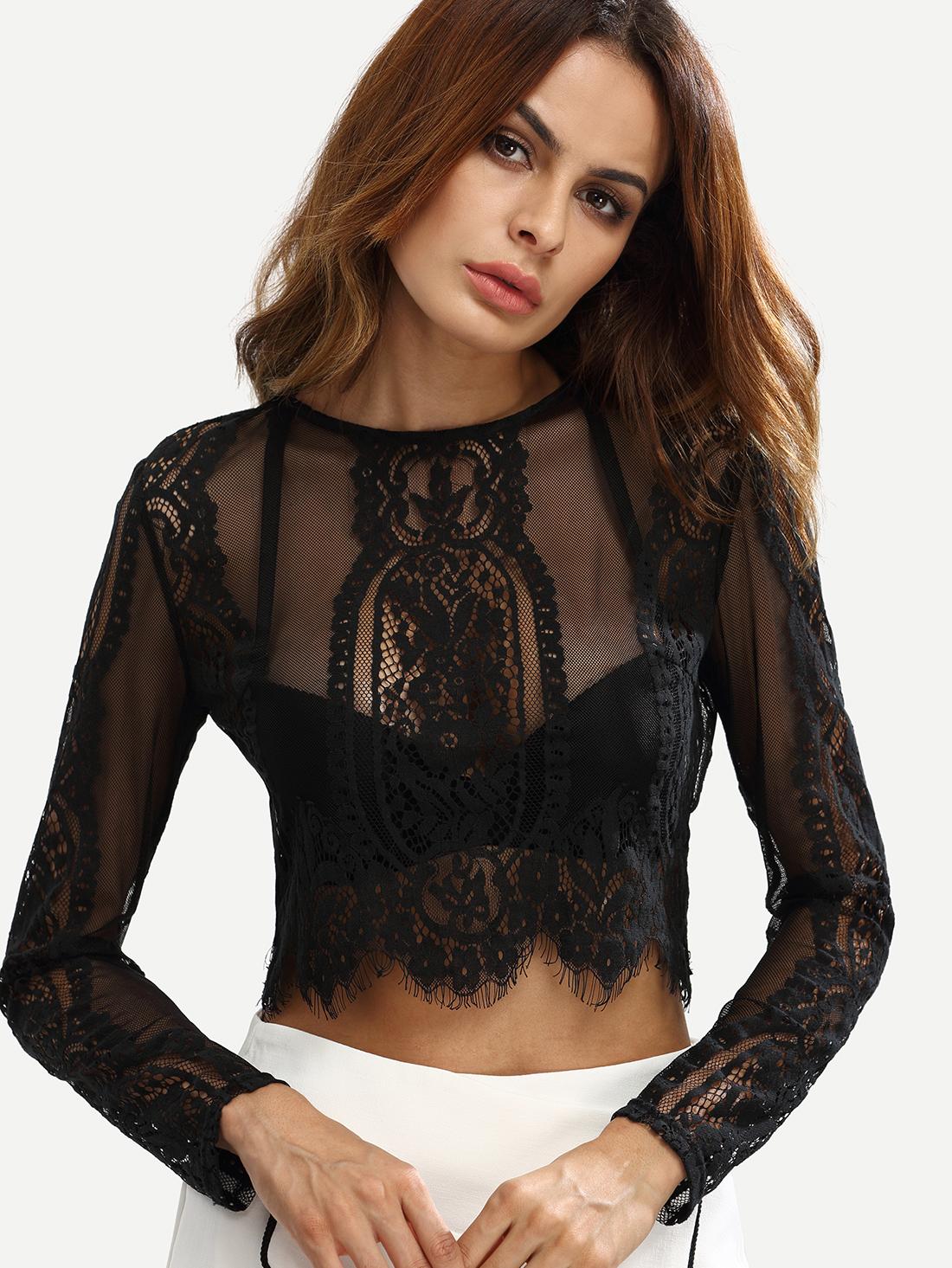 Top Blouse Shirt Sheer Ladies Lace Look Dipped Hem New Womens Fashion Black Net