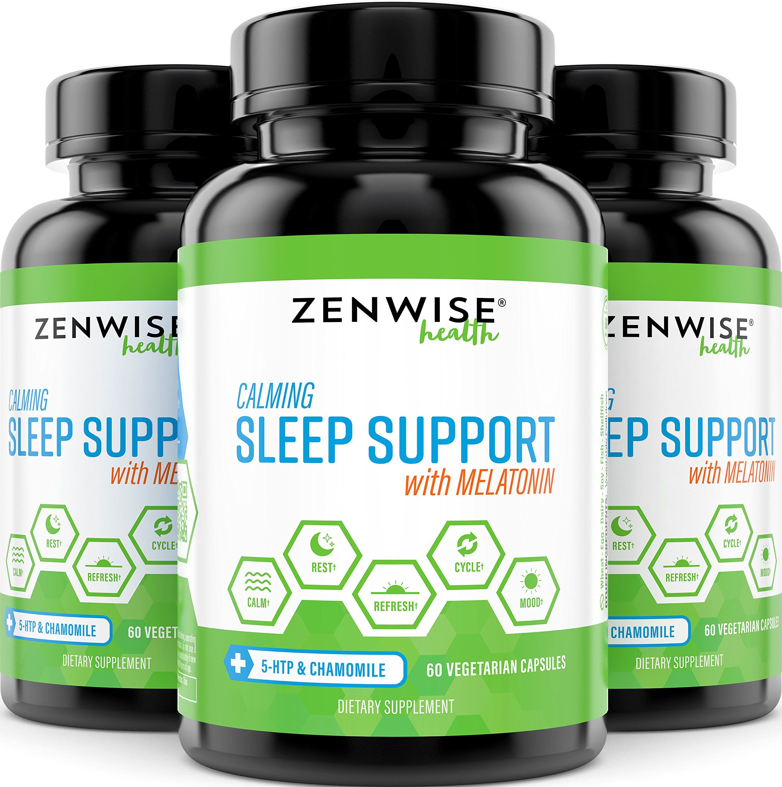 Natural Sleeping Aid Nighttime Sleep Support Supplement With 100 MG 5 HTP  Magnesium to Fall Asleep