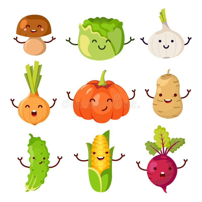 Healthy Food Cartoon Representing Stock Food Cartoon Funny Vegetables Food Icons