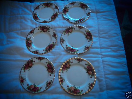 Vintage-Royal-Albert-Bone-China-Old-Country-Roses-6-Sandwich-Plates-6-Inch-Wide