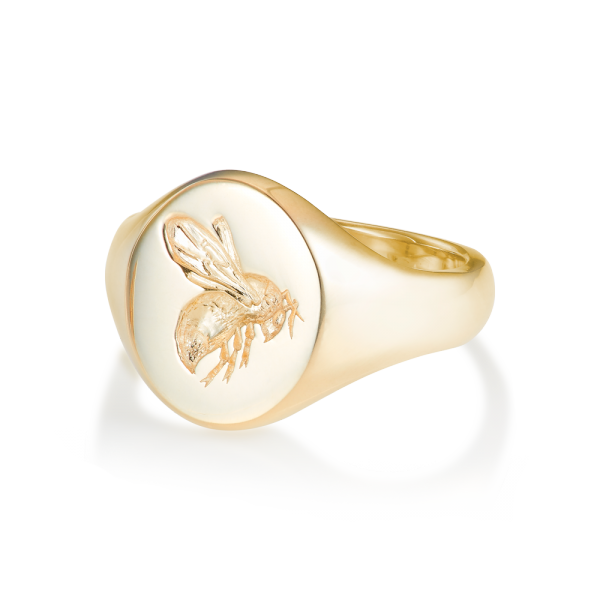 4fac338a3 9ct Yellow Gold Signet Ring - Oval Small Busy Bee | Rebus Signet Rings |  Rebus Signet Rings