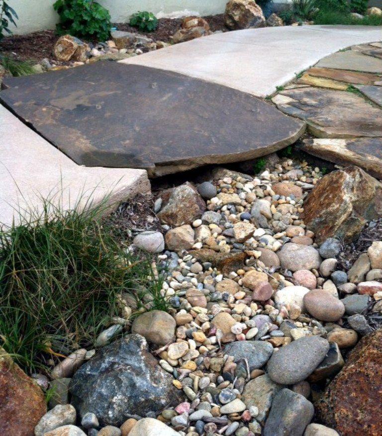 Flagstone bridge and dry stream - by Argia Designs Landscape Design on dry stream landscape, wooden deck garden, gully garden,